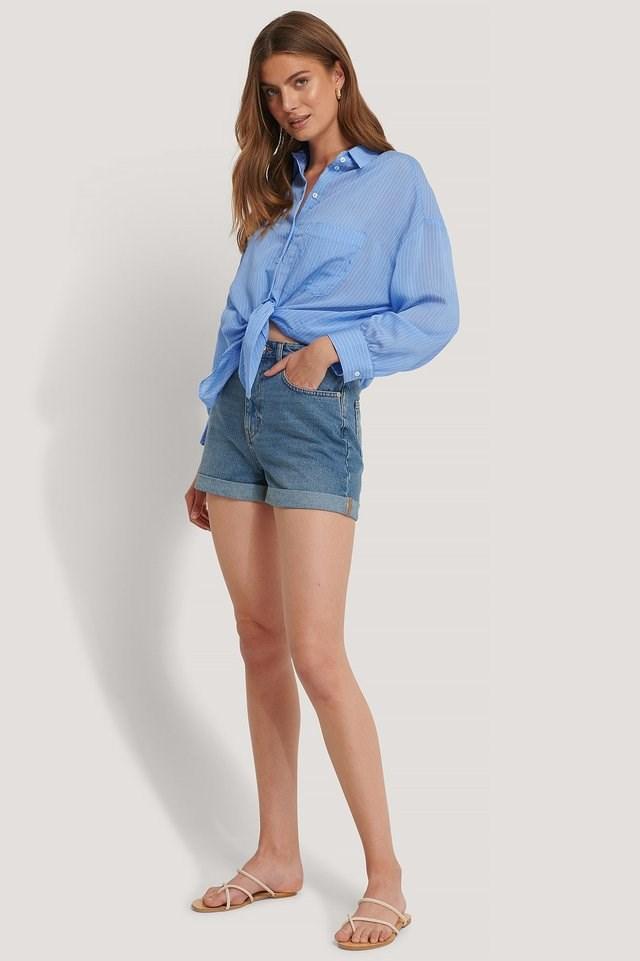 Folded Hem Denim Shorts Outfit.