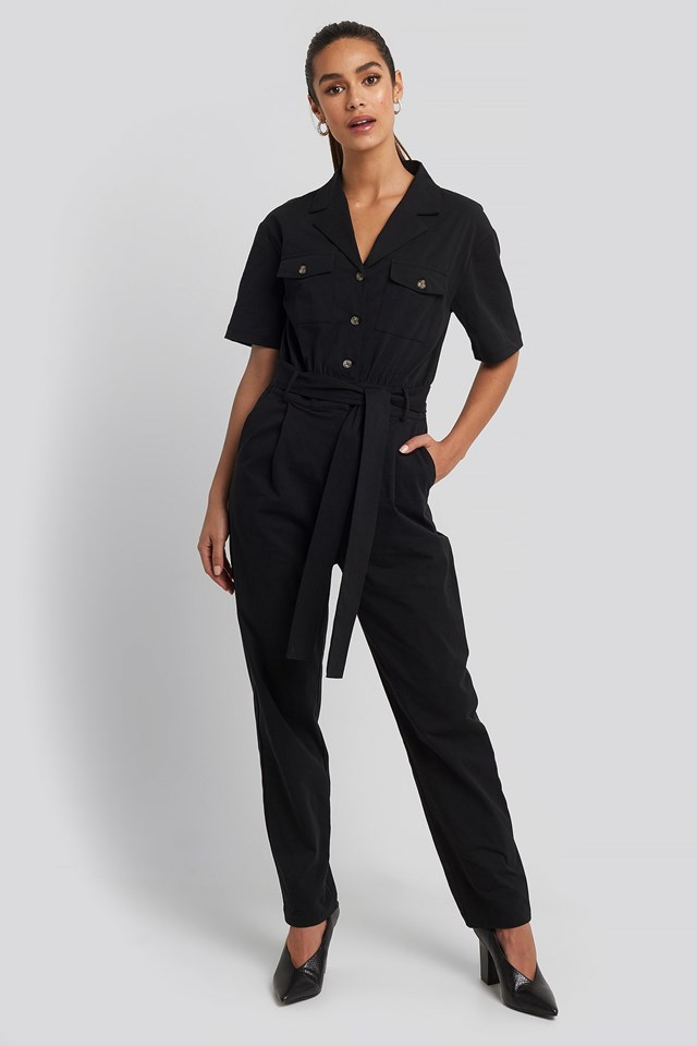 Belted Cargo Short Sleeve Jumpsuit Outfit.