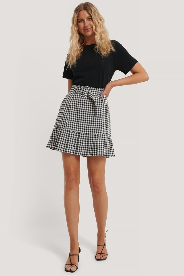 Check Mini Frill Skirt Outfit.
