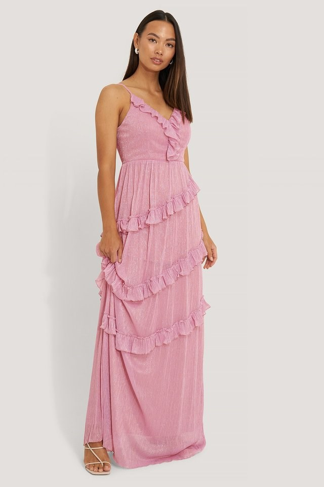 Milla Ruffle Evening Dress Outfit.