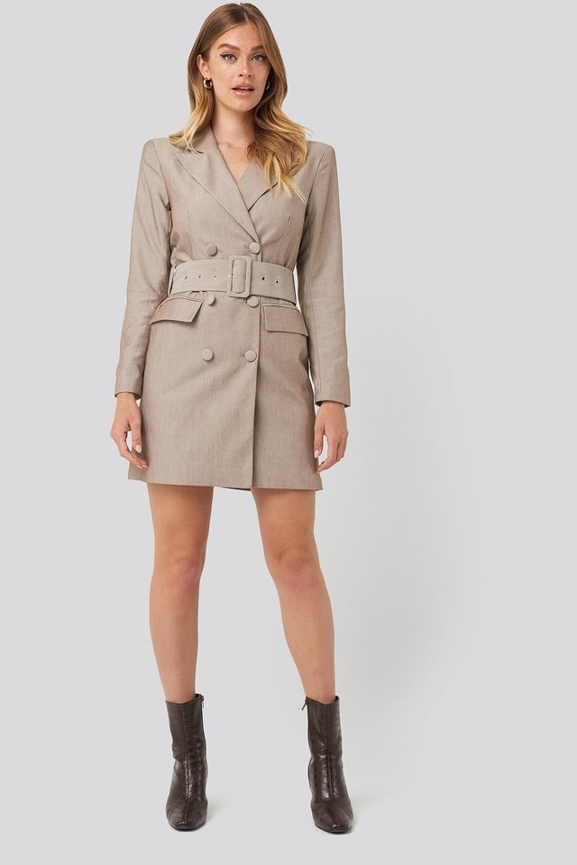 Wide Belt Blazer Dress Outfit.