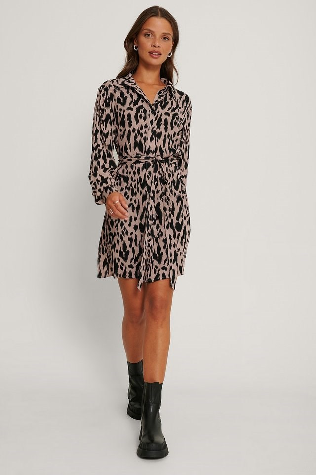 Belted Printed LS Shirt Dress Outfit.