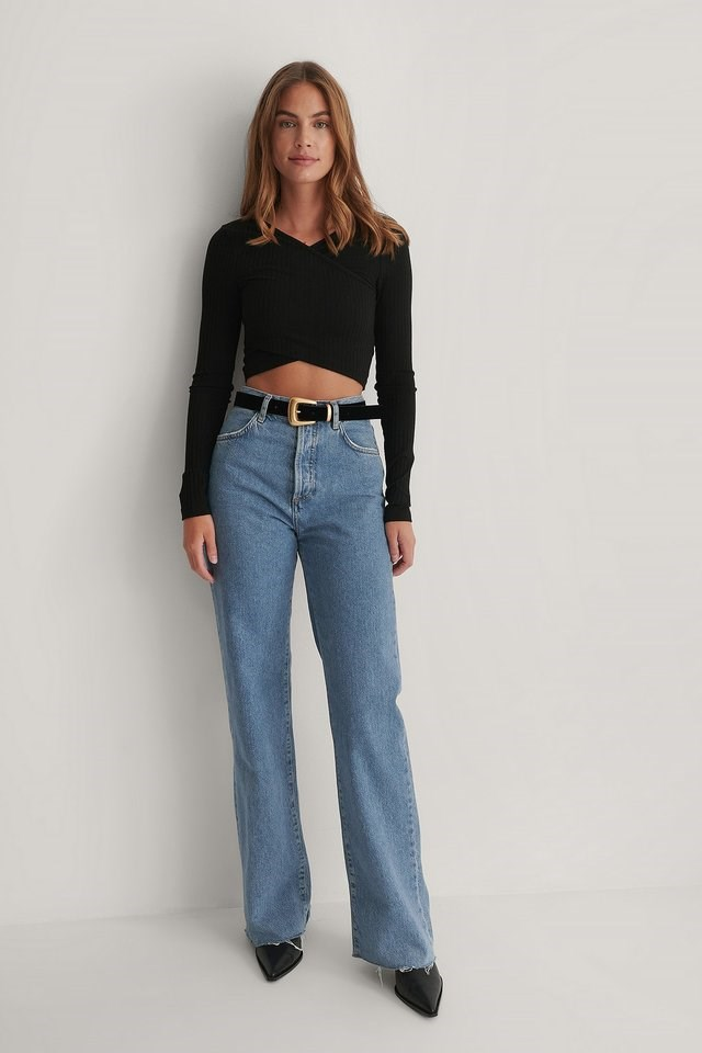 Overlap Crop Top Outfit.