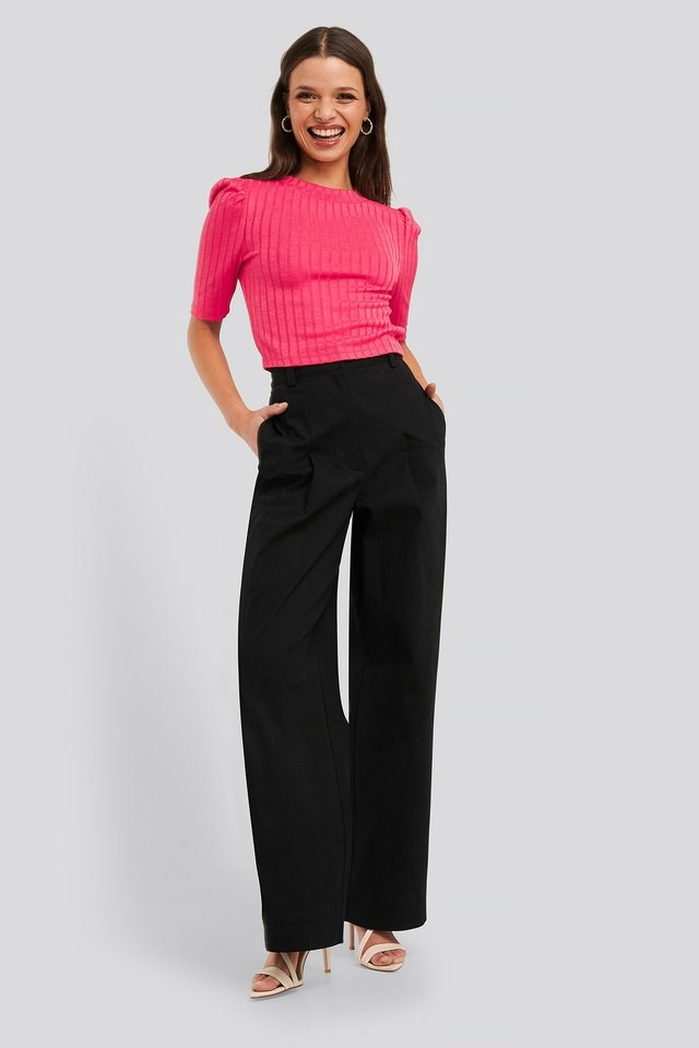 Puff Sleeve Cropped Ribbed Top Outfit.