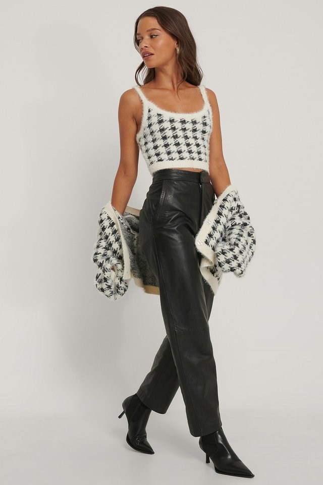 White/Black Checked Cropped Knitted Top
