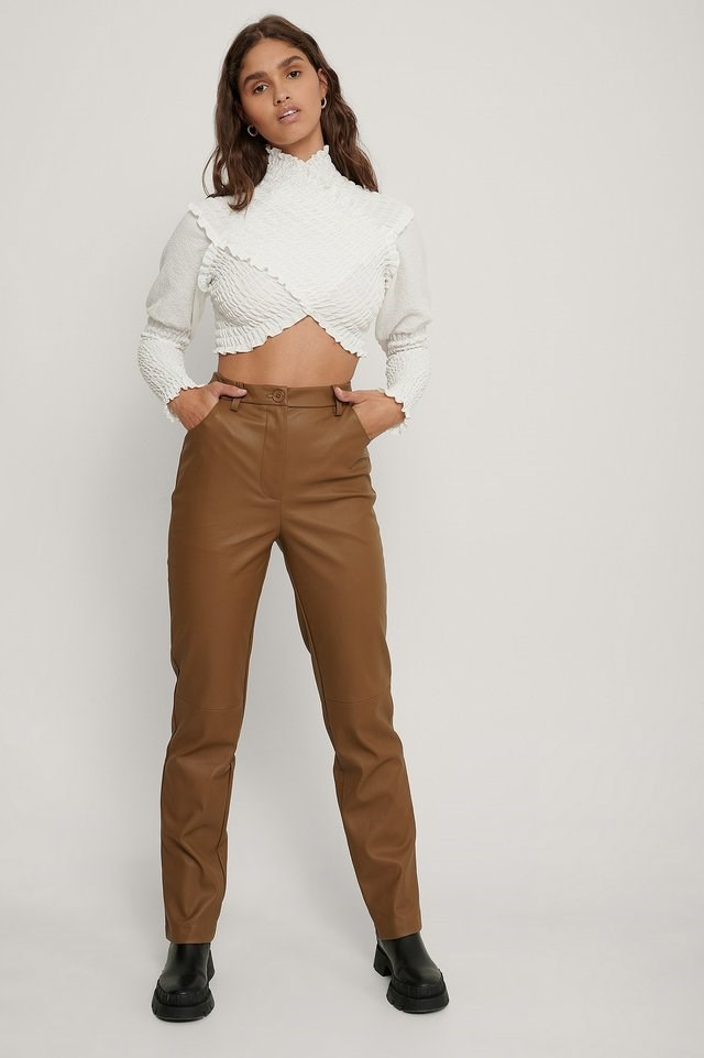 Ruffle Cross Front Top Outfit.