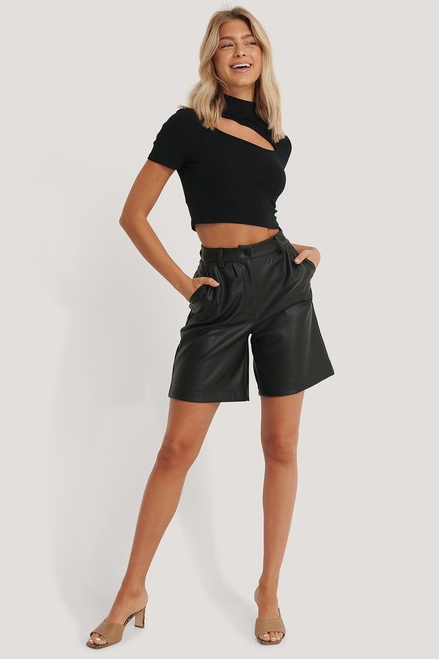 High Neck Short Sleeve Cut Out Top Outfit.