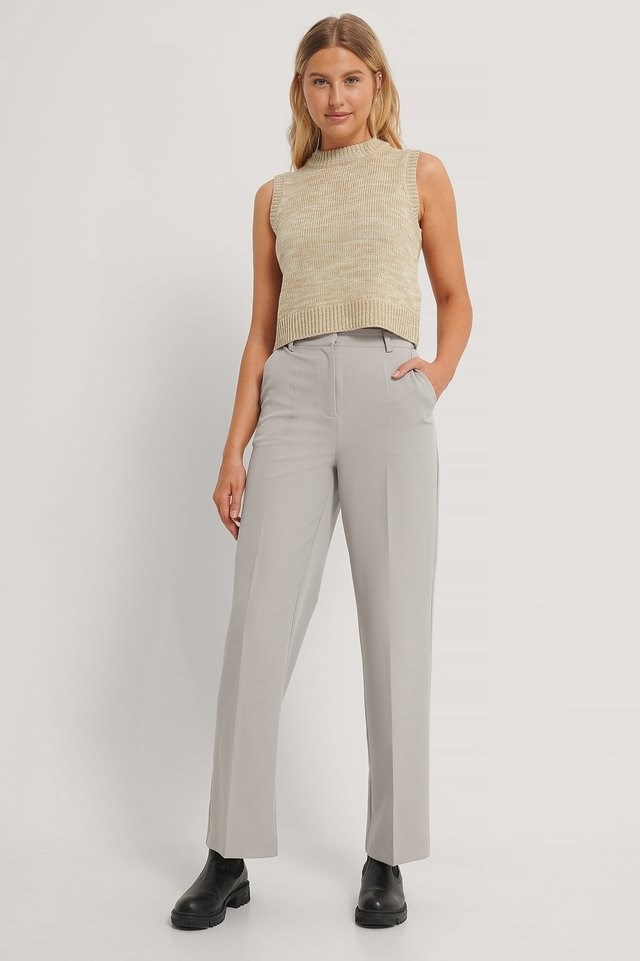 Straight Leg Suit Trousers Outfit.