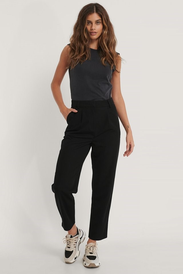 Darted Knee Suit Pants Outfit.