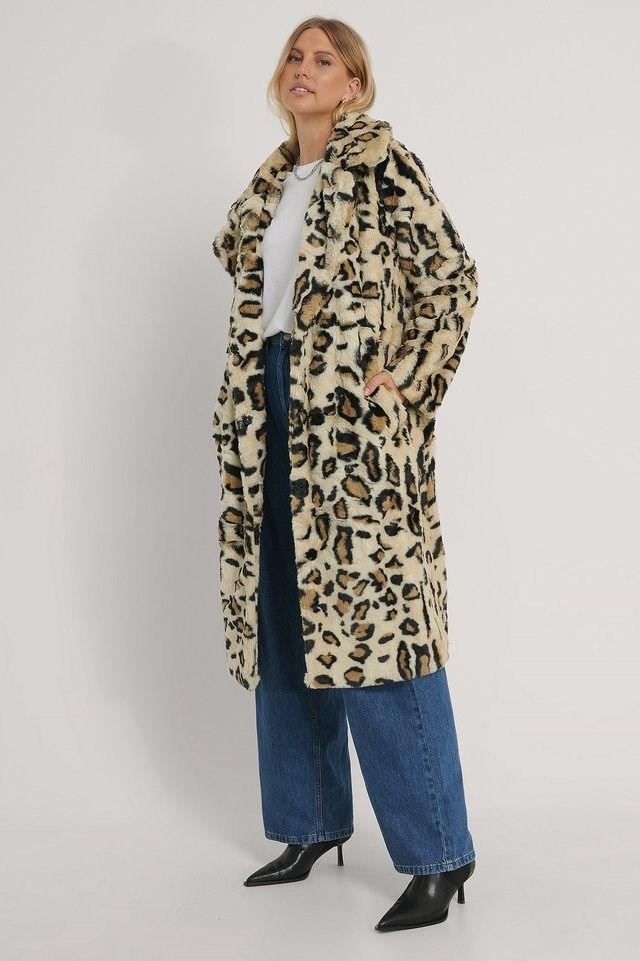 Faux Fur Coat Multicolor.
