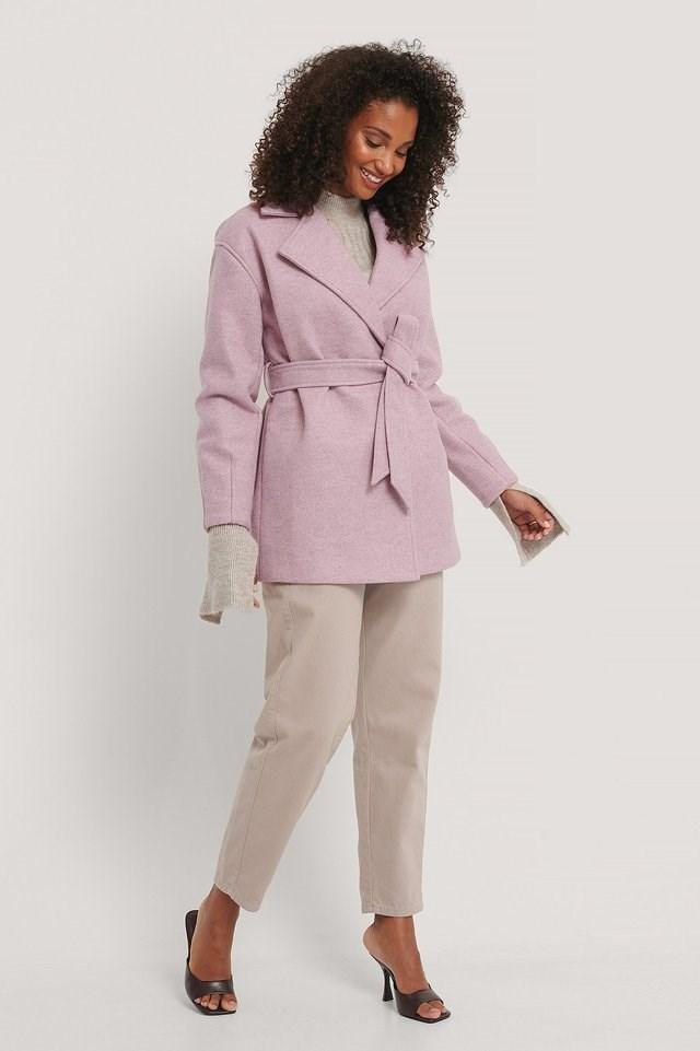 Wool Blend Belted Short Coat Pink.