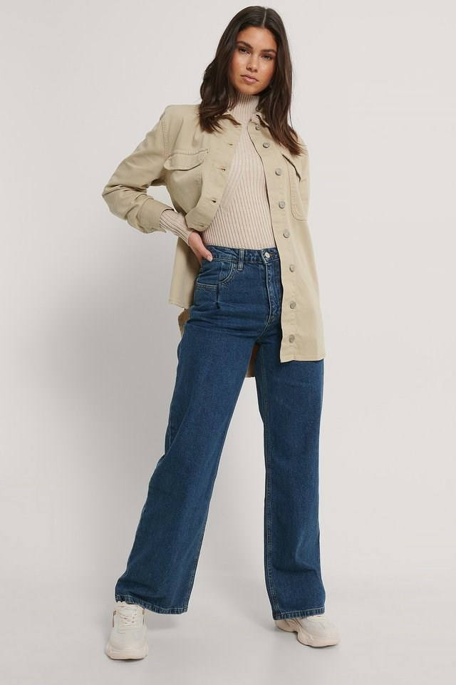 Oversized Denim Jacket Beige.