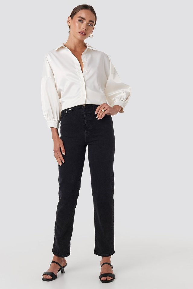 Puff Sleeve Satin Blouse Outfit.