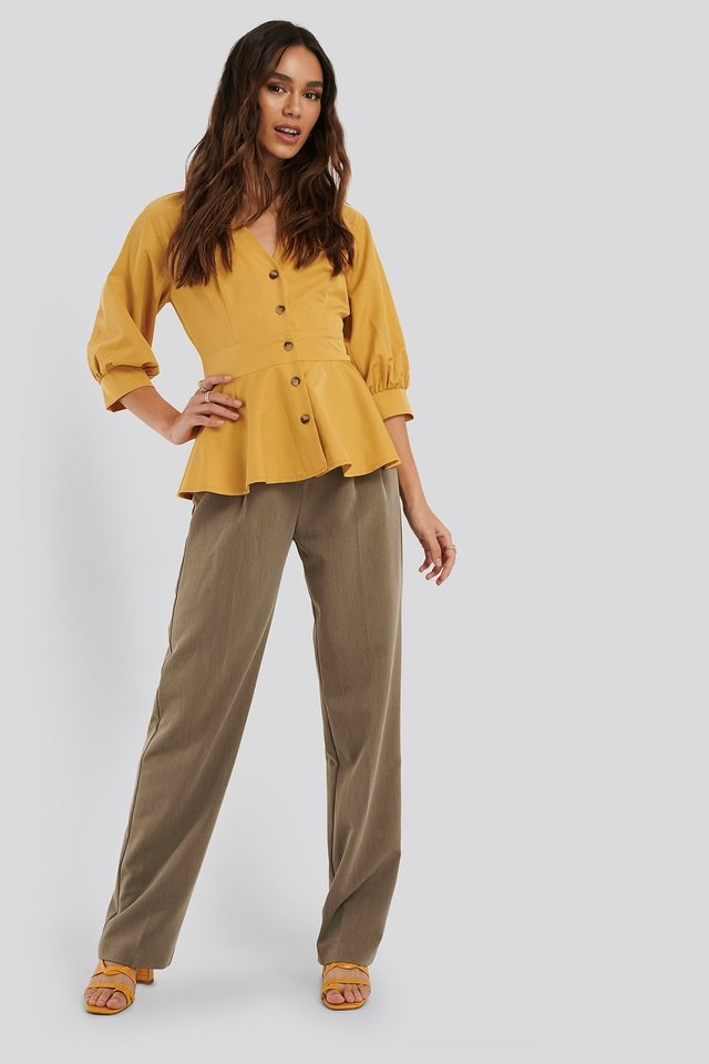 Balloon Sleeve Belted Blouse Outfit.