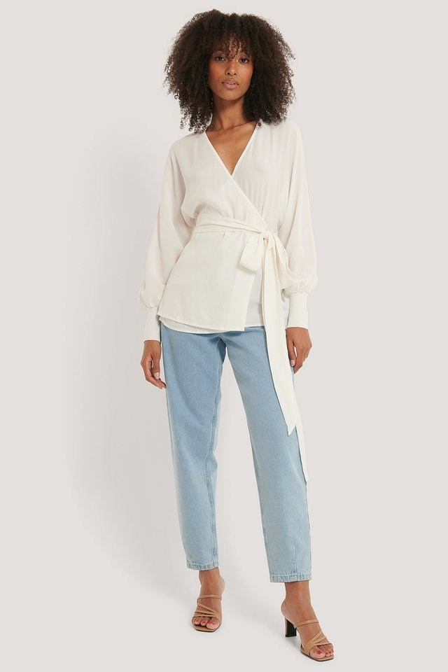 Flowy Overlap Blouse Outfit.