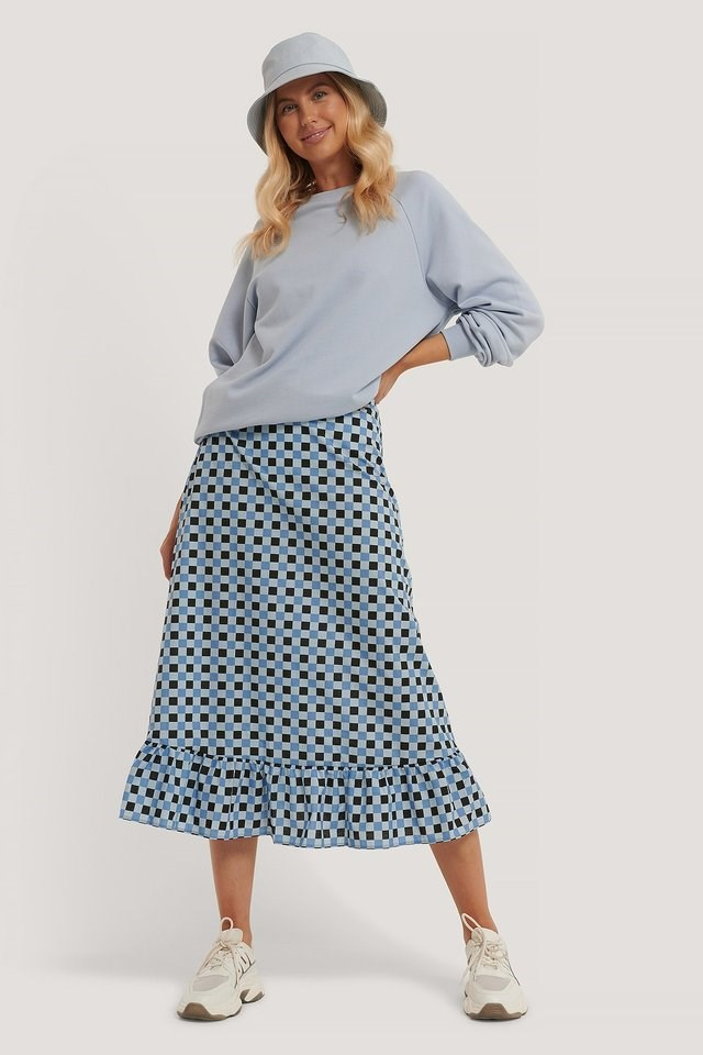 Checked Midi Skirt Outfit.