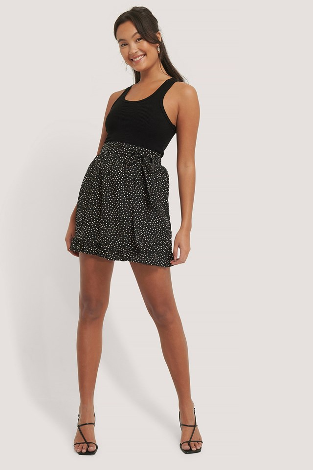 Dotted Frill Mini Skirt Outfit.