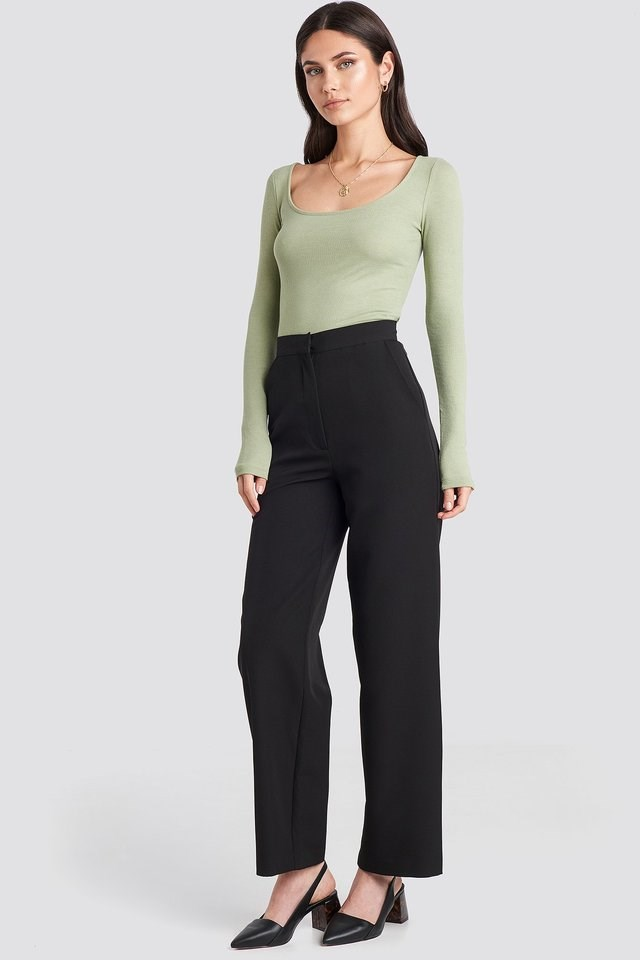 Khaki Deep Round Neck Ribbed Top