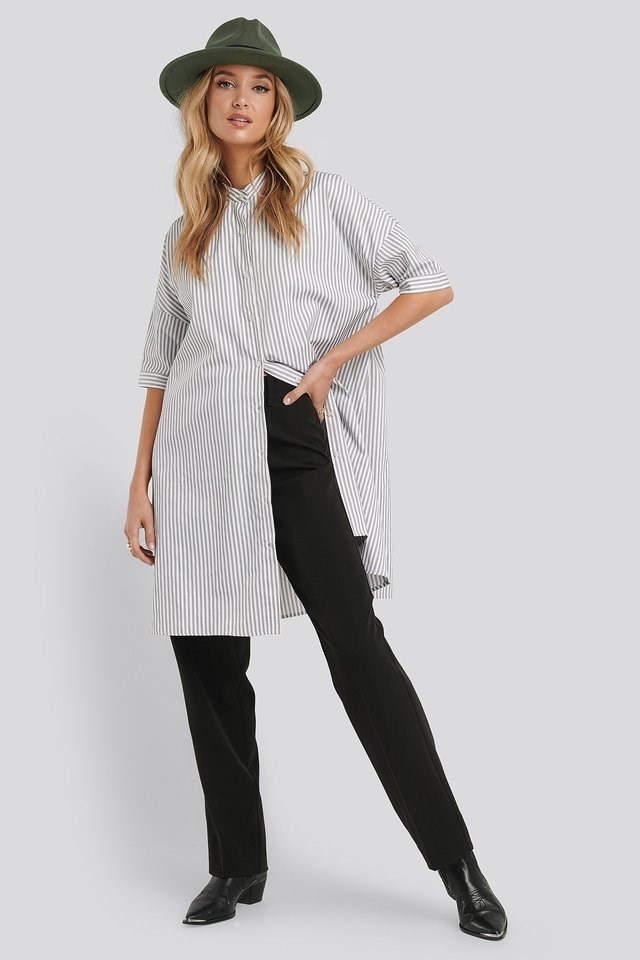 Oversized Long Striped Shirt Outfit.