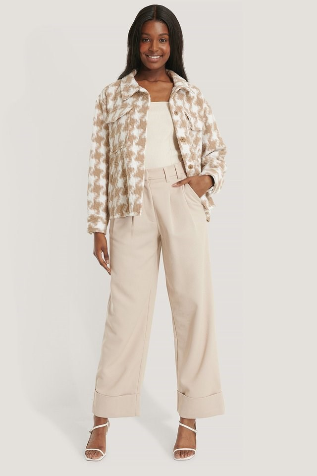 Beige High Rise Cropped Suit Pants