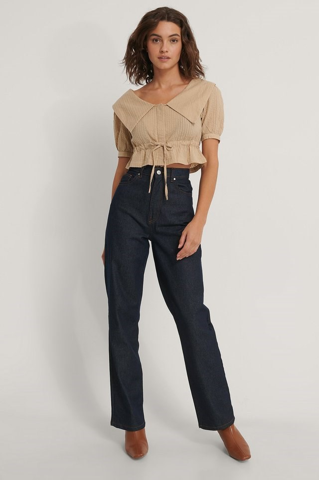 Cropped Collar Top Outfit.
