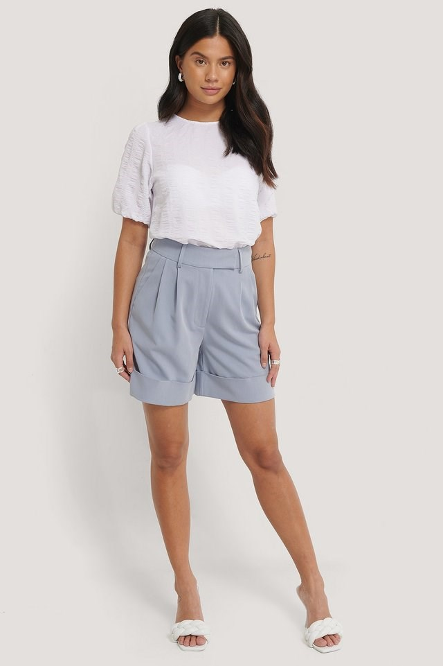 Structured Short Sleeve Blouse Outfit.