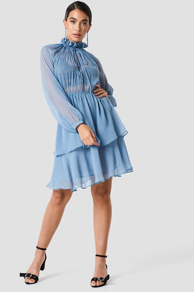 High Frill Neck Dress