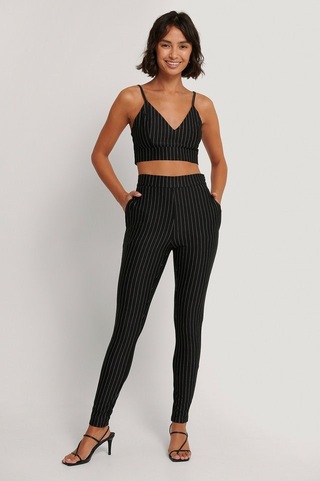Pinstripe Crop Top Outfit.