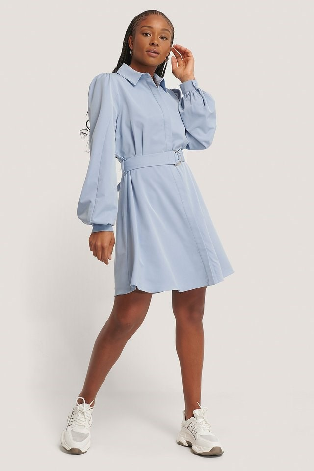 Belted Collar Shirt Dress Outfit.