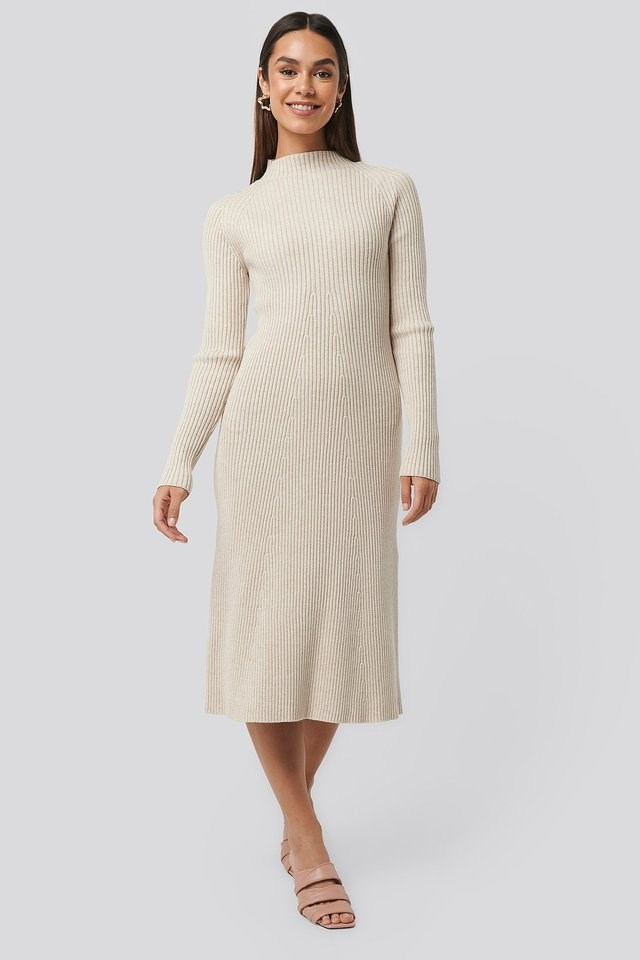 Ribbed Knitted Polo Dress Outfit.