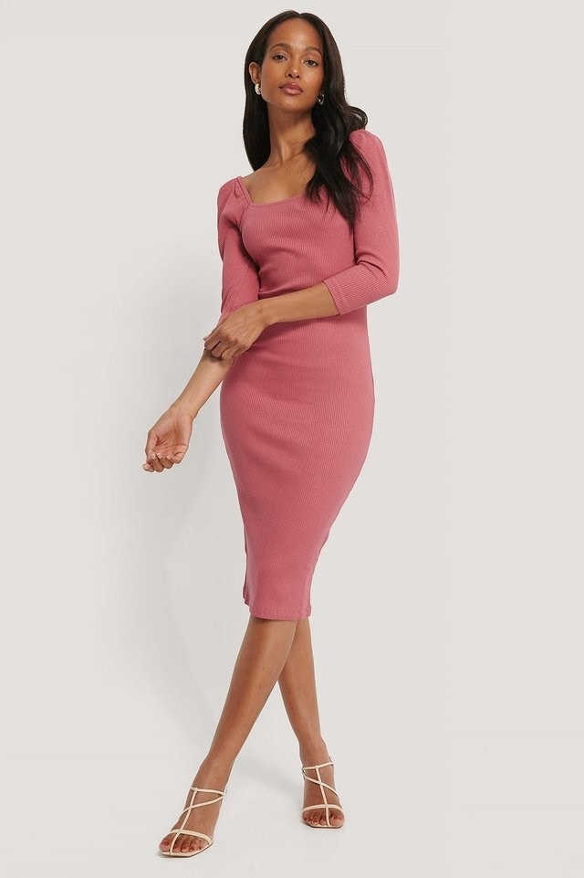 Square Neck Puff Sleeve Rib Dress Outfit.