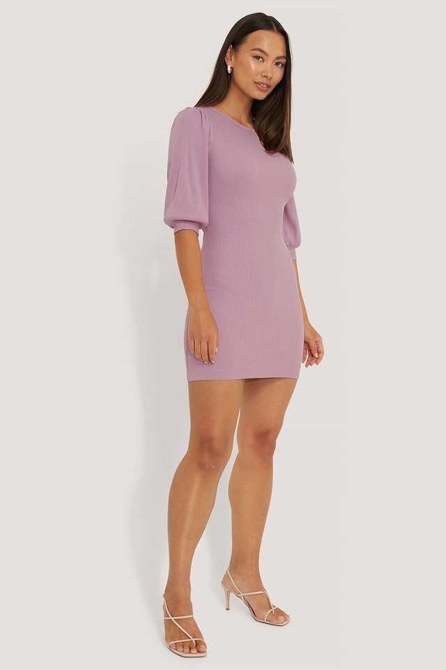 Puff Half Sleeve Ribbed Mini Dress Outfit.