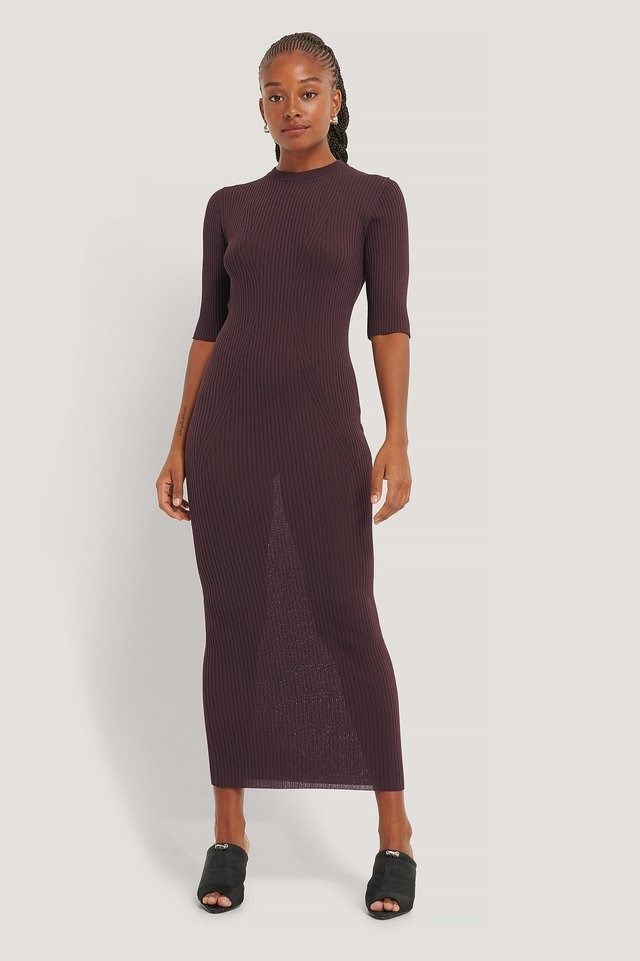 3/4 Sleeve Ribbed Knitted Dress Outfit.
