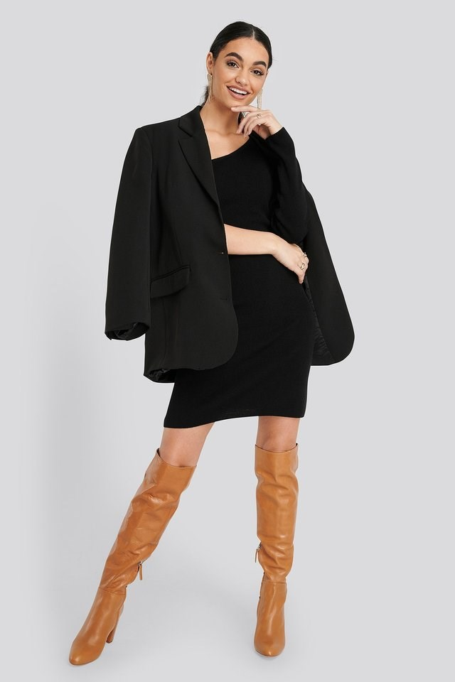 Single Sleeve Sweater Dress Outfit.