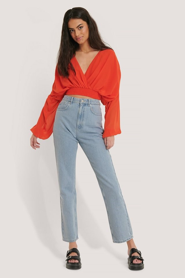 Red Smocked Waist Loose Blouse