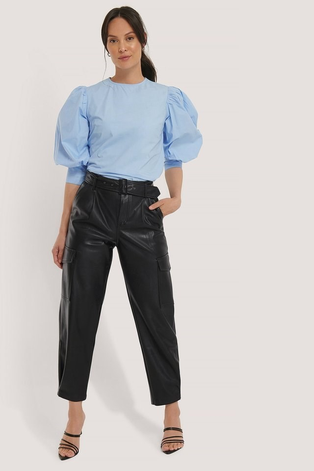 Large Cuff Puff Cotton Blouse Outfit.