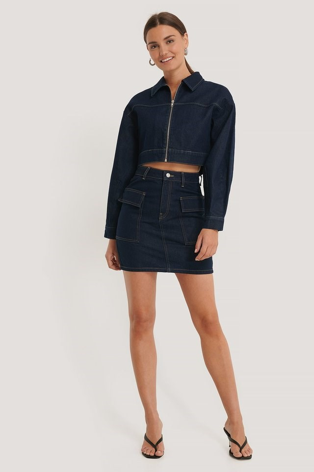 Zipped Cropped Denim Jacket Blue.
