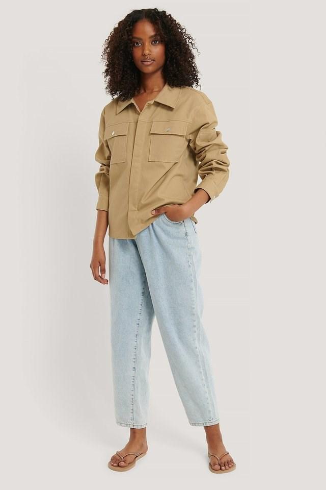 Cotton Boxy Jacket Beige.