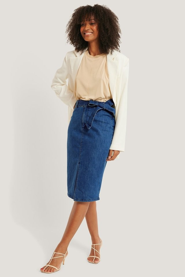 Belted Midi Denim Skirt Outfit.