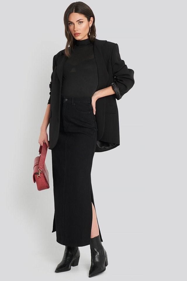 Side Split Maxi Denim Skirt Outfit.