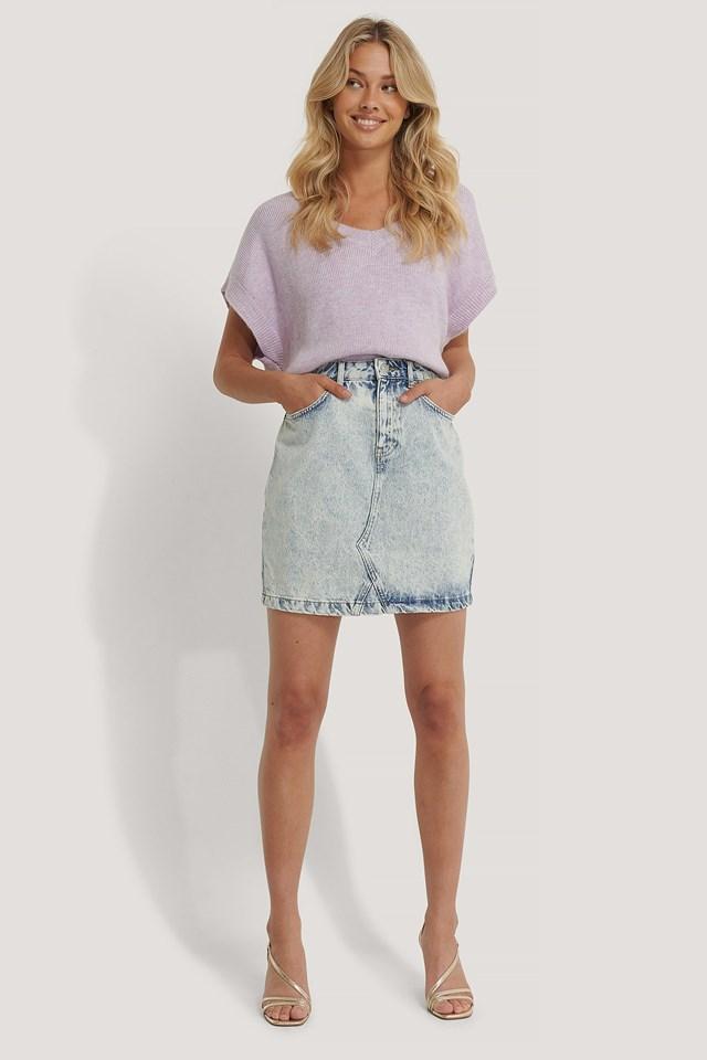 Denim Mini Skirt Outfit.