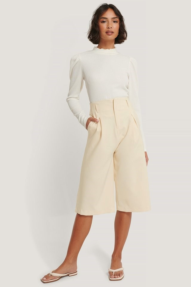 High Neck Structured Jersey Top Outfit.