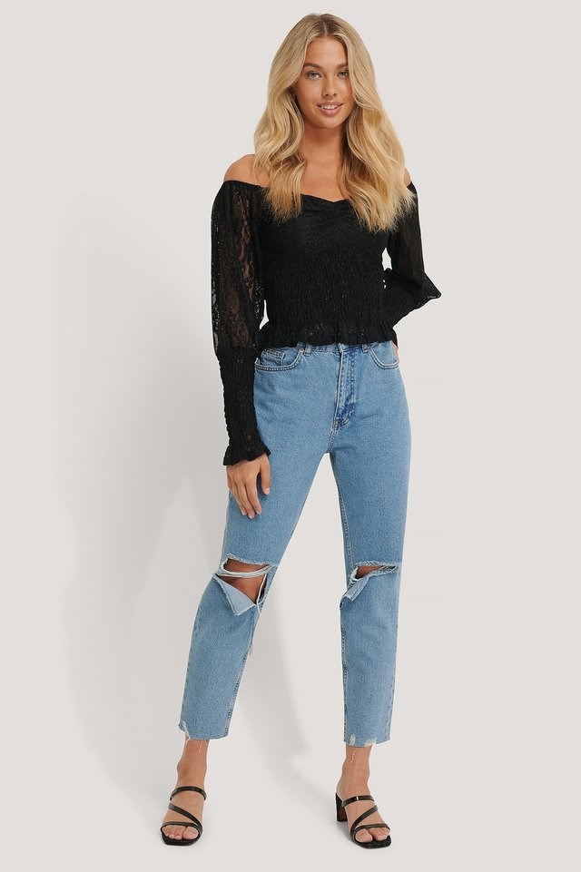Off Shoulder Smock Lace Top Outfit.