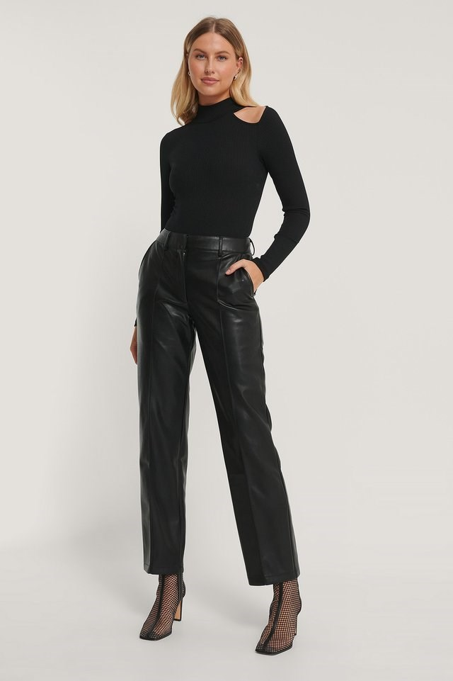 Cut Out High Neck Rib Body Outfit.