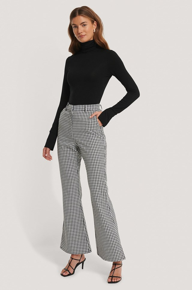 Flared Houndsthooth Trousers Outfit.