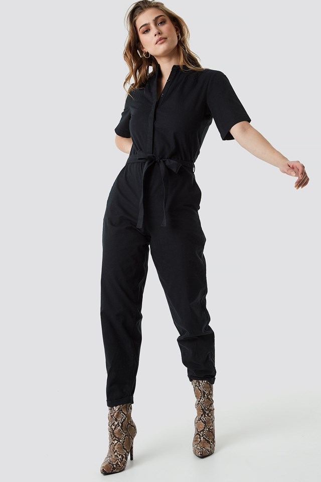 Short Sleeve Button Up Jumpsuit Outfit.