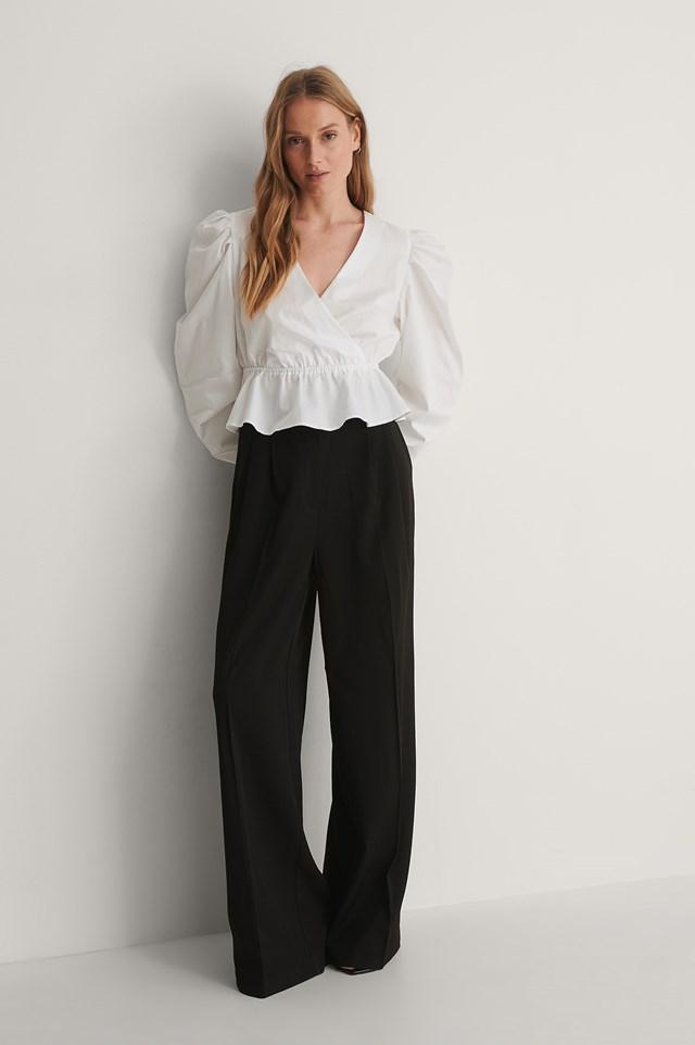 V-Neck Puff Shoulder Cotton Blouse Outfit.