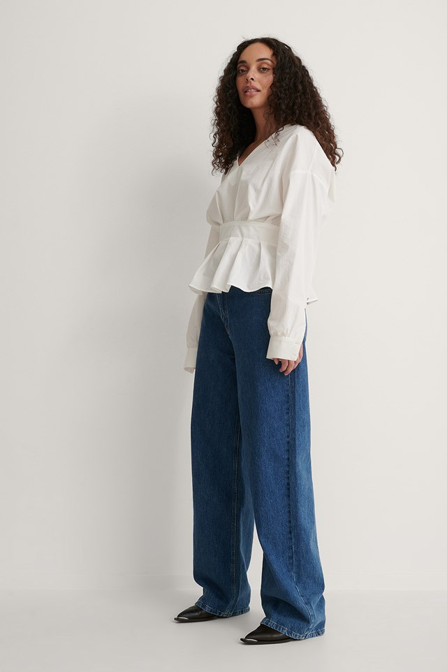 Dropped Shoulder Belted Waist Top Outfit.