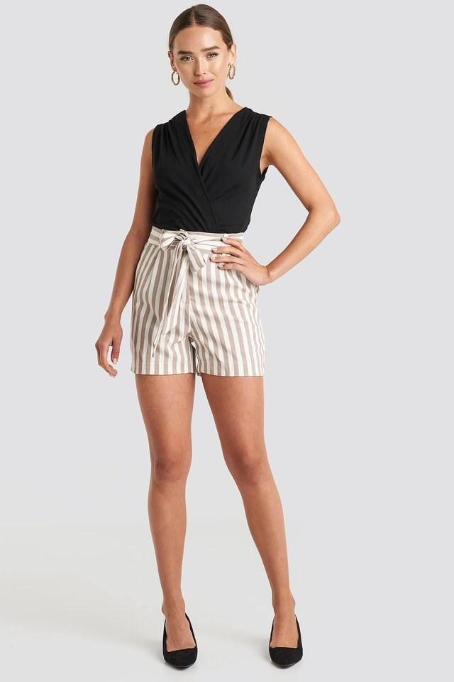 Striped Belted Shorts Outfit.