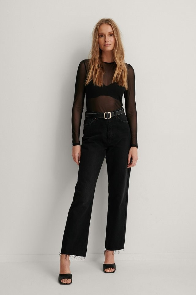 Round Neck Mesh Top Outfit.